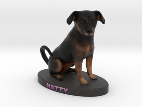 Custom Dog Figurine - Natty in Full Color Sandstone