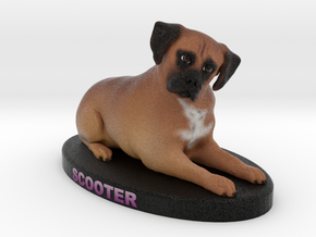 Custom Dog Figurine - Scooter in Full Color Sandstone