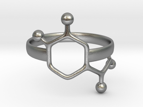 Adrenaline Molecule Ring - Size 7 in Natural Silver