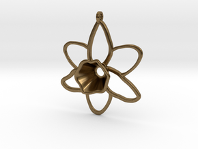 Daffodil Pendant for Necklace in Natural Bronze