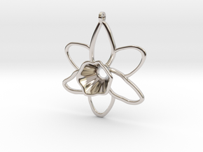 Daffodil Pendant for Necklace in Rhodium Plated Brass