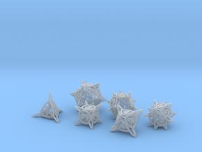 'Center Arc' dice set (D4, D6, D8, D10, D12, D20) in Smooth Fine Detail Plastic