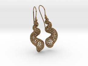 Turitella Shell Voronoi Fishhook Earring Pair in Natural Brass