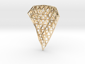 Space Frame Pendent in 14k Gold Plated Brass