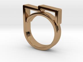 Adjustable ring for men. Model 5. in Polished Brass