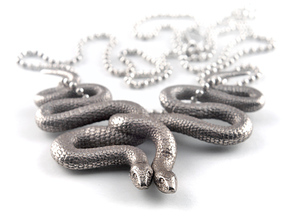 Embraced Snakes Pendant in Polished Bronzed Silver Steel