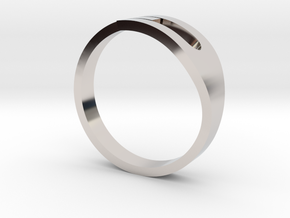H Ring in Rhodium Plated Brass