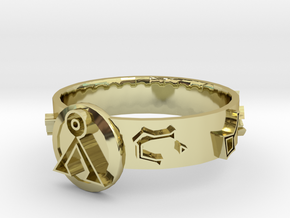 Stargate Dial Home Ring (size S) in 18k Gold Plated Brass