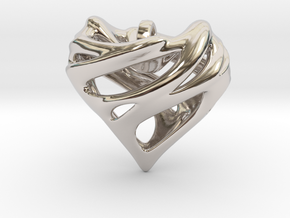 Alien Heart Pendant in Rhodium Plated Brass
