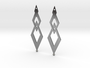Earring Rhombus in Polished Silver