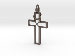 Cross & Thorns Frame Pendant in Polished Bronzed Silver Steel