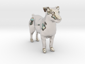 Jack Russell Terrier - Small in Rhodium Plated Brass