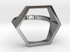 Hexagon Ring - Sz5 in Fine Detail Polished Silver