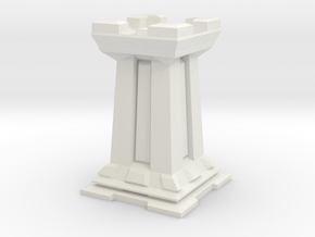 Rook - Mini Chess Piece in White Strong & Flexible