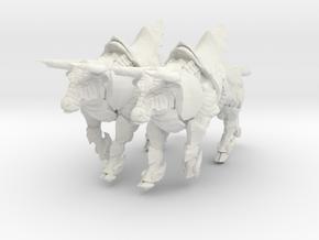 Bronze Bull Rev5 - Pose 3 in White Natural Versatile Plastic
