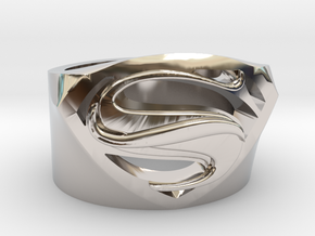SuperManRIng - Man Of Steel Size US11.5 in Rhodium Plated Brass