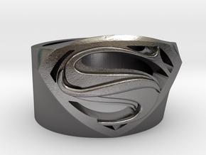 SuperManRIng - Man Of Steel Size US11.5 in Polished Nickel Steel