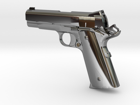 1:12 scale 1911 Pro Carry pistol in Fine Detail Polished Silver