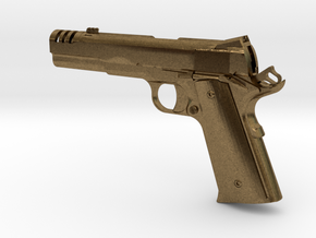 1:12 scale 1911 pistol with compensator in Natural Bronze