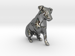 Begging Jack Russell Terrier in Fine Detail Polished Silver