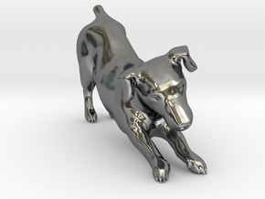 Stretching Jack Russell Terrier in Fine Detail Polished Silver