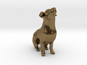 Howling Jack Russell Terrier in Polished Bronze