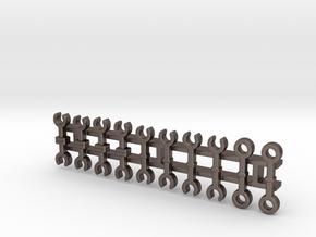 S-Bahn-Kupplungen / couplers (Z, 1:220) in Polished Bronzed Silver Steel