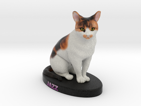 Custom Cat Figurine - Jazz in Full Color Sandstone