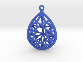 3D Printed Diamond Pear Drop Earrings in Blue Processed Versatile Plastic