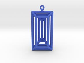 3D Printed Diamond Baguette Cut Earrings by bondsw in Blue Processed Versatile Plastic