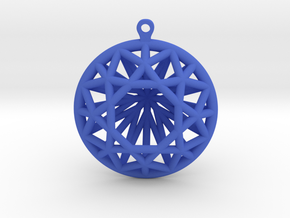 3D Printed Diamond Circle Cut Earrings in Blue Processed Versatile Plastic
