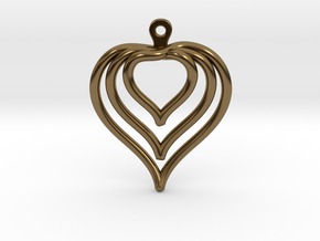 3D Printed Wired Love Yourself Heart Earrings in Polished Bronze