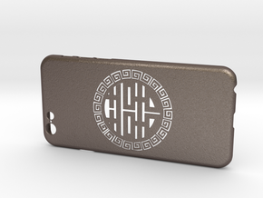 Chinese Lucky Mark 喜喜 iPhone6 case  in Polished Bronzed Silver Steel