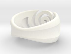 Spiral ring - Size 8 in White Processed Versatile Plastic