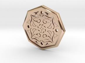 Octagon Rune Amulet in 14k Rose Gold Plated Brass