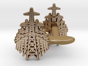 Pylon Fan cufflinks in Polished Gold Steel
