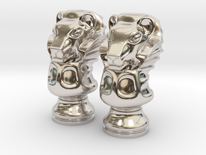 Pair Lion Chess Big / Timur Asad Piece in Rhodium Plated Brass