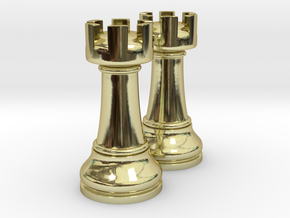 Pair Rook Chess Big Solid | TImur Rukh in 18k Gold Plated Brass