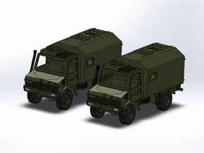 2x Unimog U1300 mit Koffer 1:144 in Smooth Fine Detail Plastic