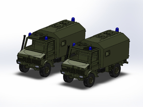 2x Unimog U1300 mit SAN-Koffer 1:144 in Frosted Ultra Detail