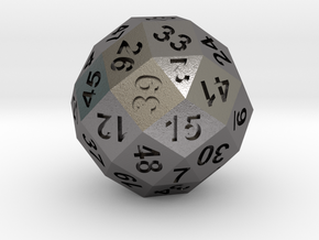 50-side dice (solid core) in Polished Nickel Steel