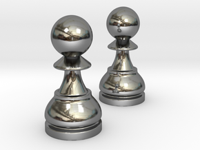 Pair Pawn Chess / Timur Pawn of Pawns in Fine Detail Polished Silver