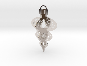 3-Tiered 3D Ornament in Rhodium Plated Brass