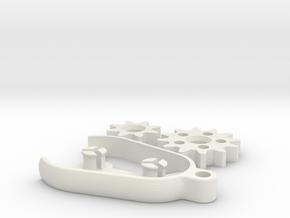 Gear Keychain in White Natural Versatile Plastic