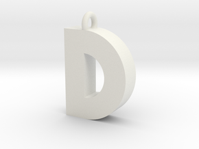 Alphabet (D) in White Natural Versatile Plastic