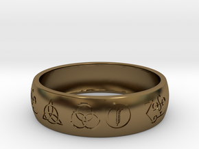 Size 10 FOUR SYMBOLS A  in Polished Bronze