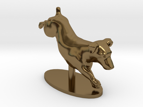 Jumping Up Jack Russell Terrier 2 in Polished Bronze