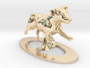 Running Jack Russell 1 in 14k Gold Plated Brass