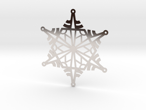Arcs Snowflake - Flat in Rhodium Plated Brass