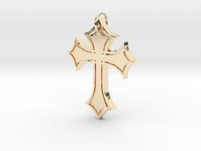 Christian Cross Pendant in 14K Yellow Gold